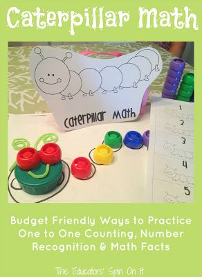 Caterpillar Math with Recycled Lids from The Educators' Spin On It part of the Virtual Book Club Summer Camp sponsored by Green Kid Crafts!