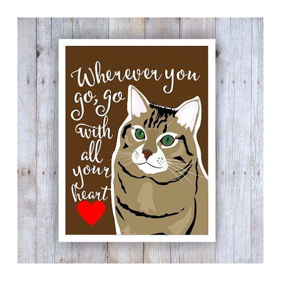 cat art print cat poster brown cat cat artwork go by goingplaces2