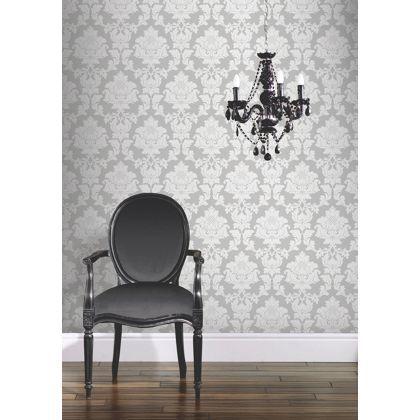 hb fw regency damask wallpaper - silver at homebase -- be inspired