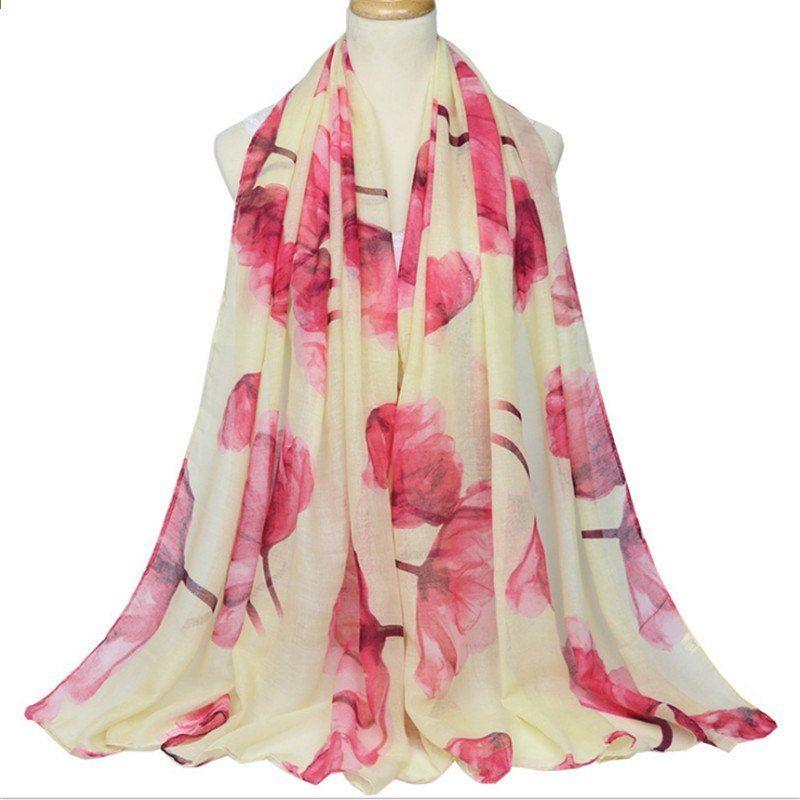 be8c38651ae Mode Dames Sjaal Lente Herfst Katoen Warm Sjaal voor Dames Roos Bloemen Design  Dames Sjaal Wrap Dames Sjaals Sjaal Sjaals