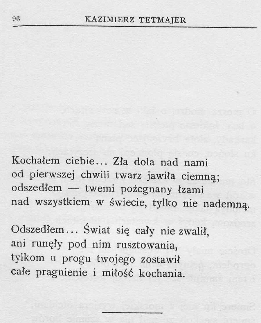 Kazimierz Przerwa Tetmajer Poezja Polska Poezja Wiersze