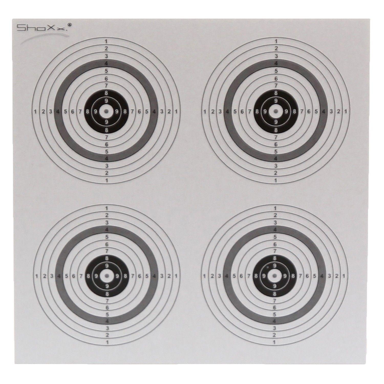 10 Original shoot-club Zielscheiben mit 4 Spiegeln im Maß 14 cm x 14 cm. * Papierqualität: 250 g/ m²Original shoot-club Luftgewehr Zielscheiben mit 4 Spiegeln und 250g/m²