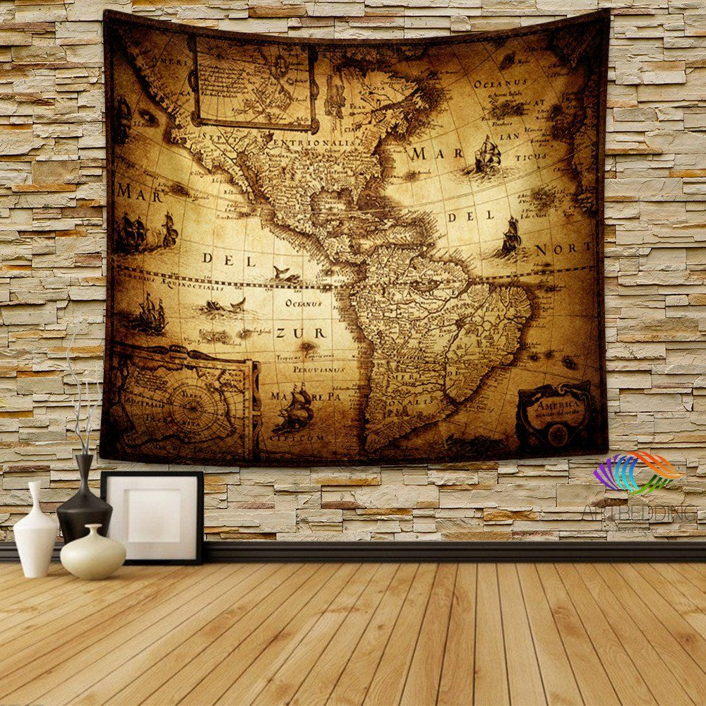 Vintage world map wall tapestry america vintage world map wall vintage world map wall tapestry america vintage world map wall hanging old map wall gumiabroncs Images