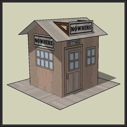 Simple Nowhere RR Station Free Building Paper Model Download - http://www.papercraftsquare.com/simple-nowhere-rr-station-free-building-paper-model-download.html