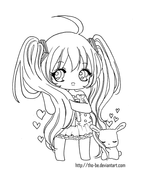Miku Hatsune Chibi Lineart By Tho Be On Deviantart Puppy Coloring Pages Chibi Coloring Pages Cute Coloring Pages