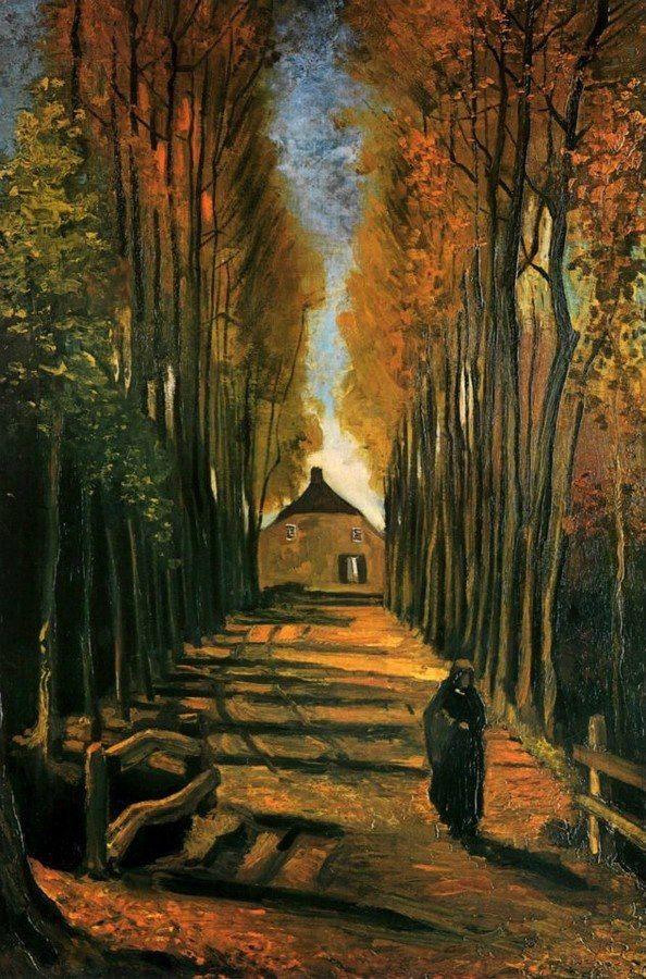 Van Gogh Avenida De Chopos Al Atardecer 1884 Pinturas De Van Gogh Arte De Otoño Pintor Van Gogh