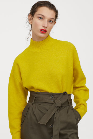 Knit Mock Turtleneck Sweater Yellow Ladies H M Us Cuello De Tortuga Moda Para Mujer Outfits