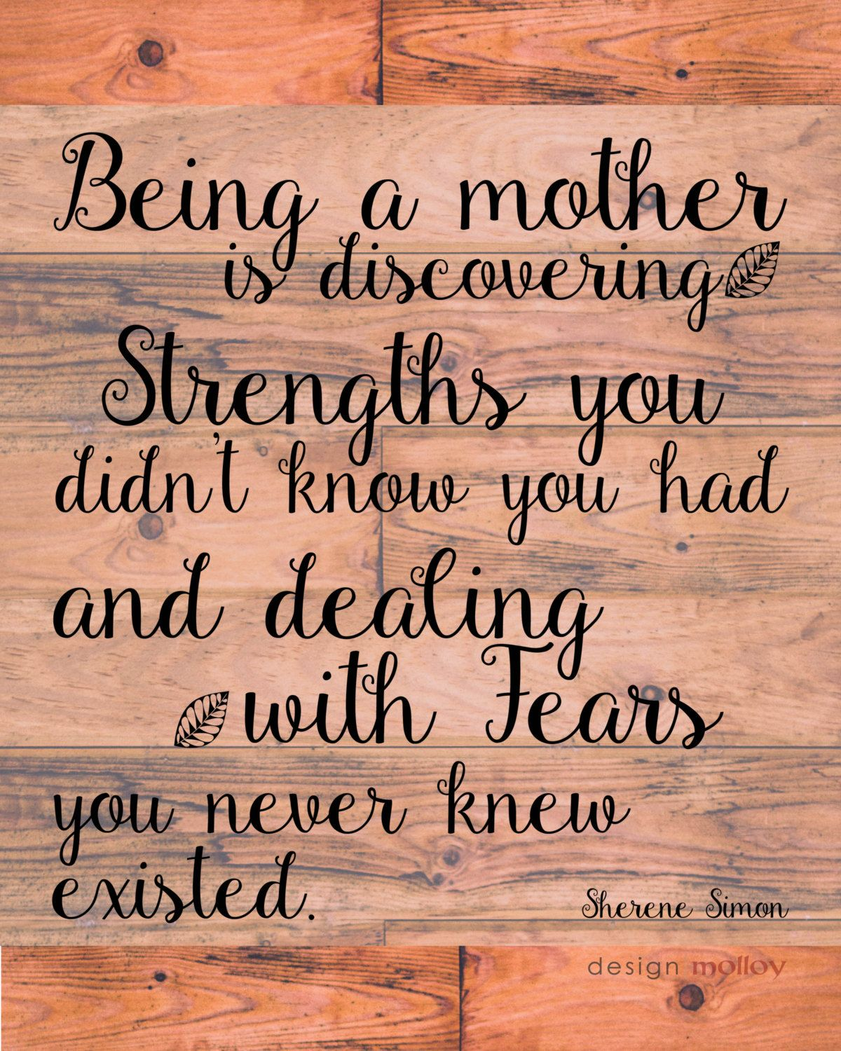 Being a Mother Quote PRINT Sherene Simon Quote by