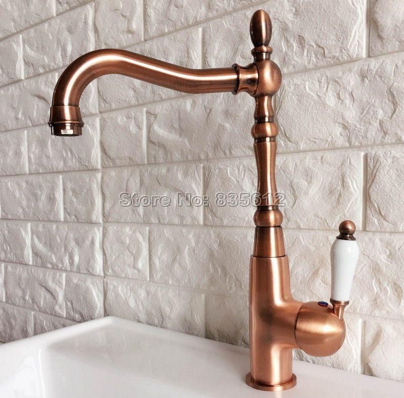 Antique Red Copper Faucet Ceramic Single Handle Bathroom Faucet