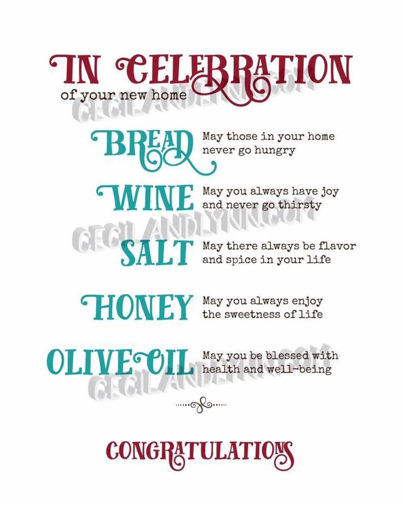 Printable Home Blessing Bread Salt Wine Honey Olive Oil Etsy House Warming Gift Diy Housewarming Gift Baskets House Warming Gifts