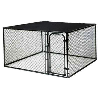 Kennelmaster 10 Ft X 5 Ft X 6 Ft Black Powder Coated Chain Link Boxed Kennel Kit K6510clbl C The Home Depot Dog Kennel Outdoor Dog Kennel Dog Cages