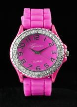 Crystal Large Round Face Hot Pink Silicone Watch www.sterlingjewelrystores.com