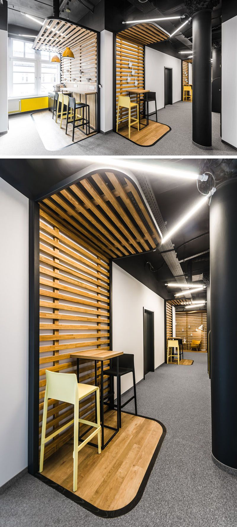 This New Office Interior Uses Wood And Black Frames To Clearly Define Spaces Corporate Office Design Office Interiors Office Interior Design