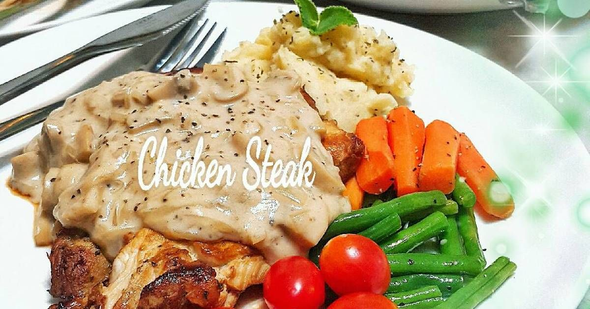 Resep Steak Ayam Saus Jamur Oleh Vinay89 Resep Resep Steak Resep Masakan Resep