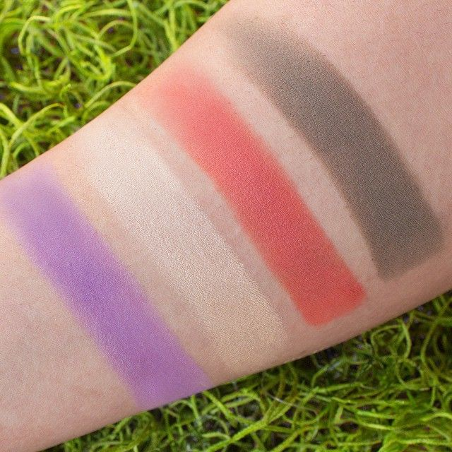 Swatches of the four newest Makeup Geek eyeshadow additions! From left to right: Wisteria, Rapunzel, Poppy, and High Tea.