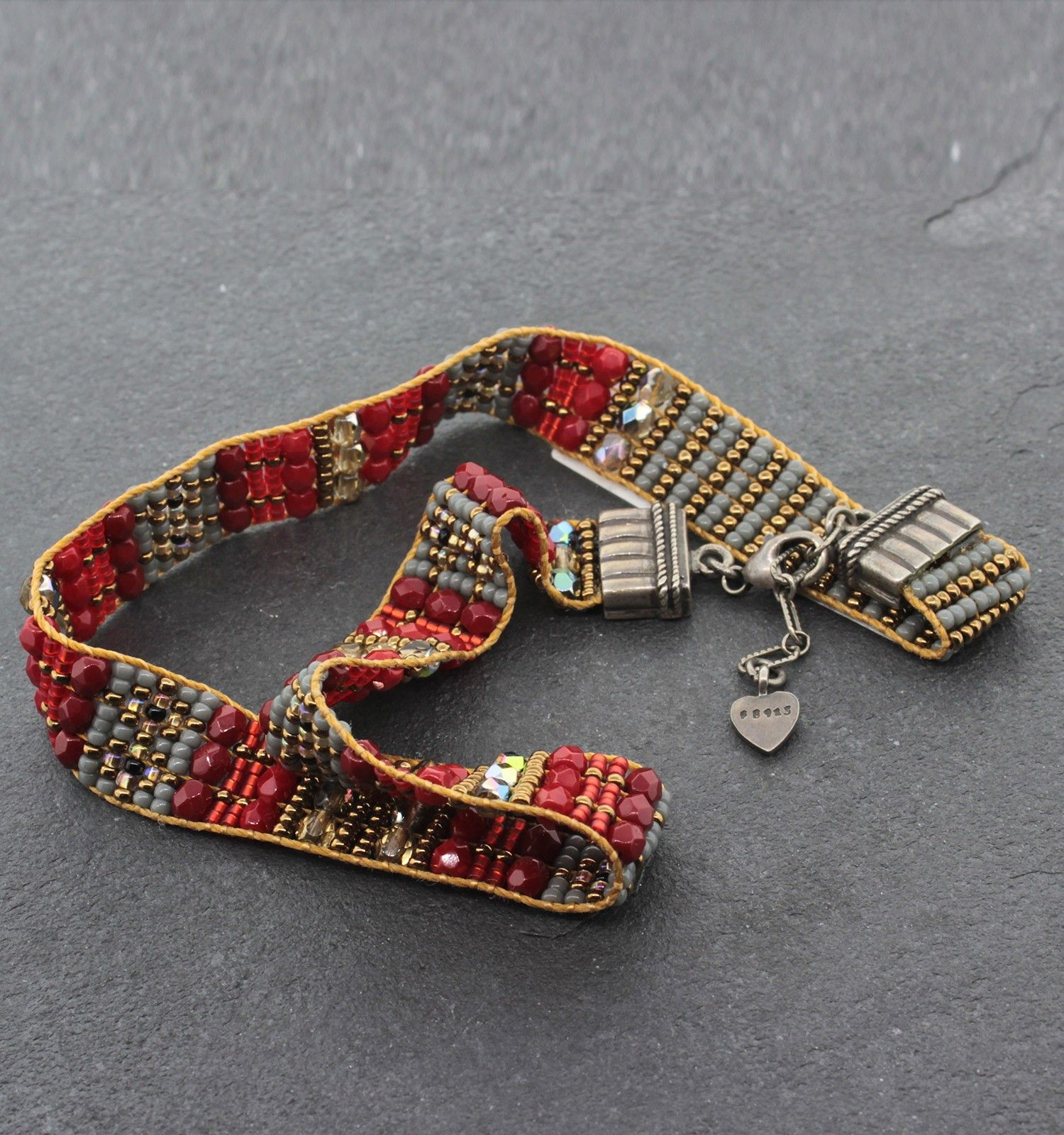 "Chili Rose Wrap Bracelet - Sterling Silver Beaded Wrap Bracelet, 14""-15"""