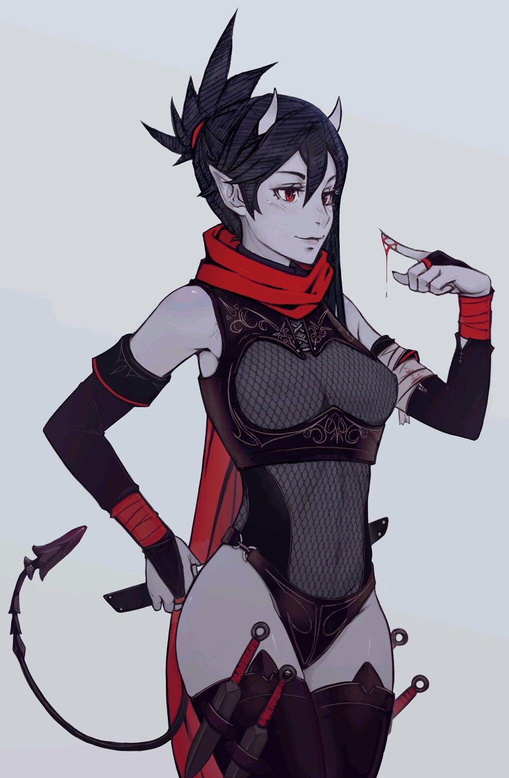 Demon Ninja Fantasy Character Design Anime Female Characters