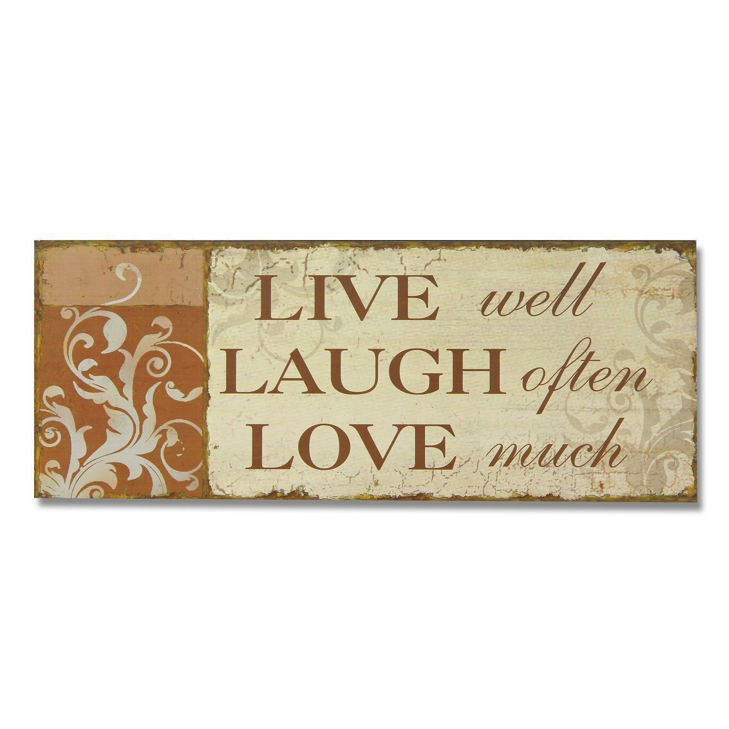 Love Decor Signs Adeco 'live Laugh Love' Decorative Wood Wall Sign Plaque Brown