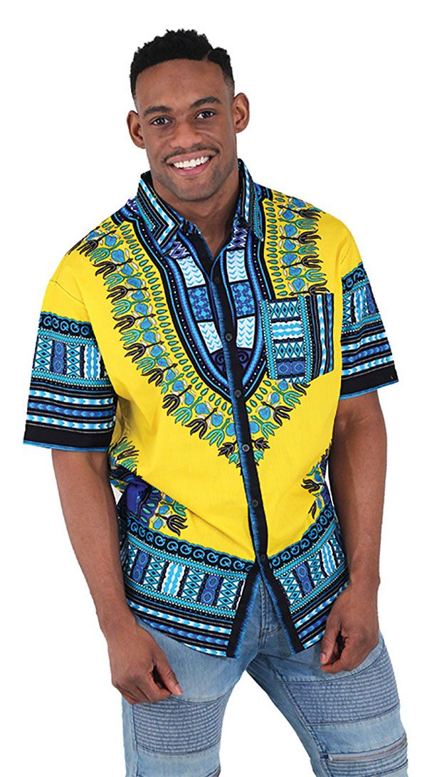 African Men's Short Sleeve Dress Shirt - Bold African pattern in blue and yellow with detailed traditional African pattern.  This shirt is comfortable and classy, so it's perfect for going out on date night or wearing to a Black History Month event.  #blackhistorymonth #fashion #mensfashion #handsome #africa #menswear #MensFashion  #mens #mensstyleguide