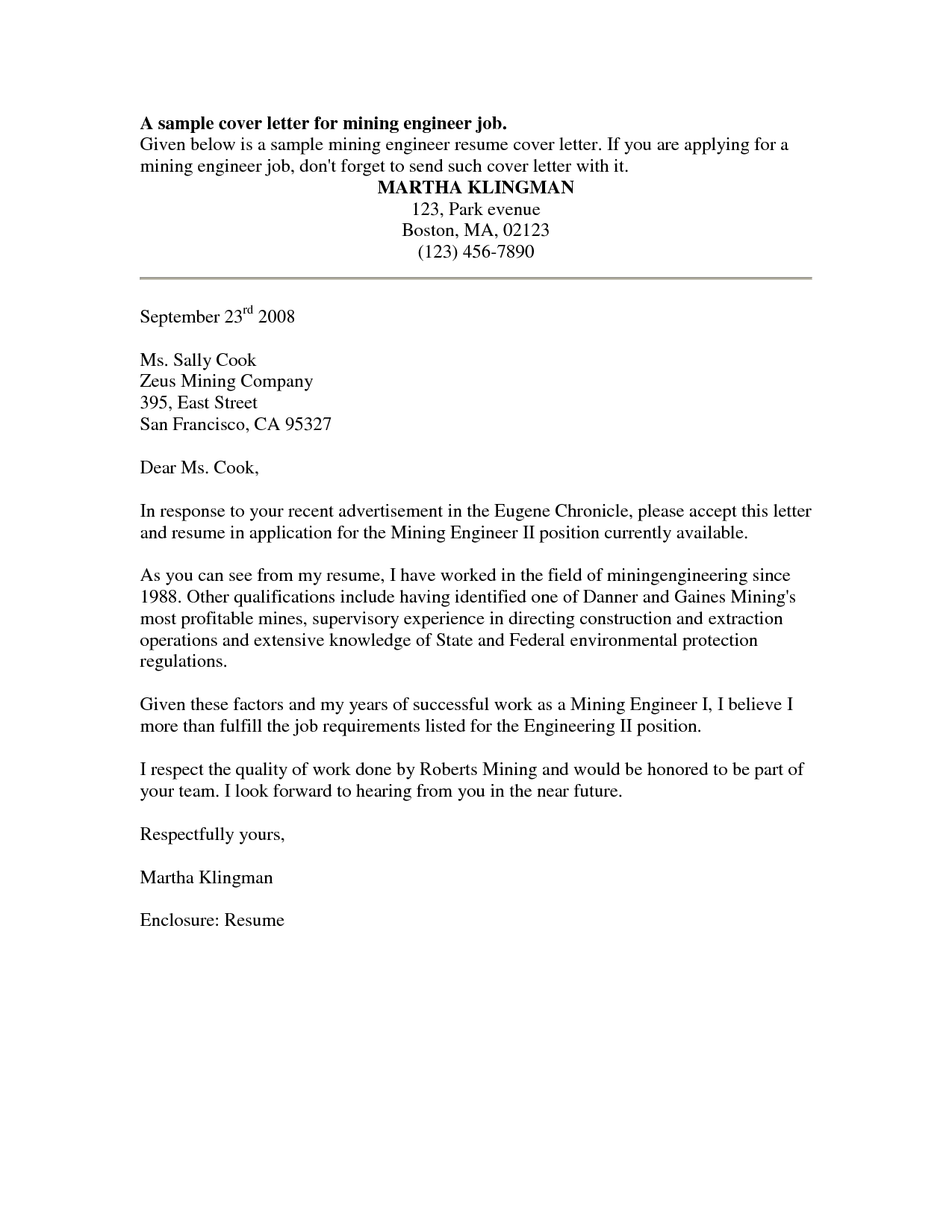 Cover Letter Sample Free Sample Job Cover Letter For ResumeCover ...
