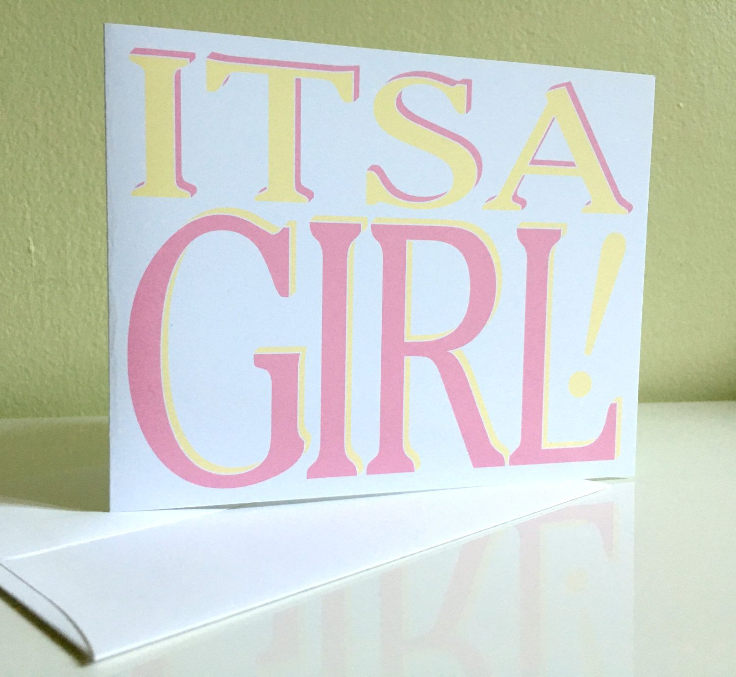 Its a girl baby card baby girl greeting card congratulations baby card baby girl greeting card congratulations card girl congrats new baby card by paperheartdispatch on etsy kristyandbryce Images
