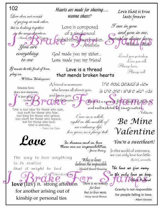 Ms102 Full Plate Verses For Cards Valentines Card Message Card