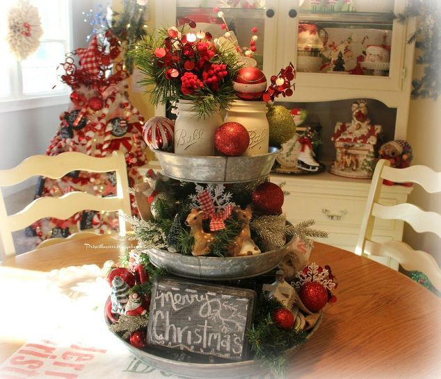 galvanized tiered tray christmas centerpiece how to, chalkboard paint, christmas decorations, mason jars