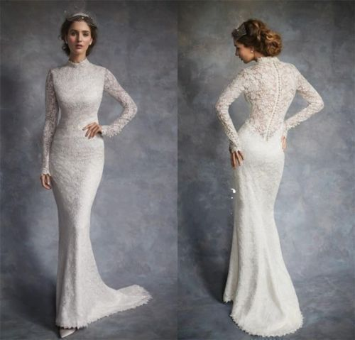High End Neck Mermaid Lace White Wedding Dress Long Sleeve Bridal Gown