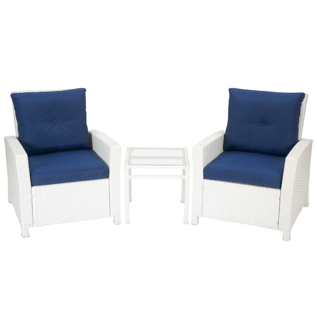 Best 3 Piece Wicker Club Chair Set With Accent Table In Blue 400 x 300