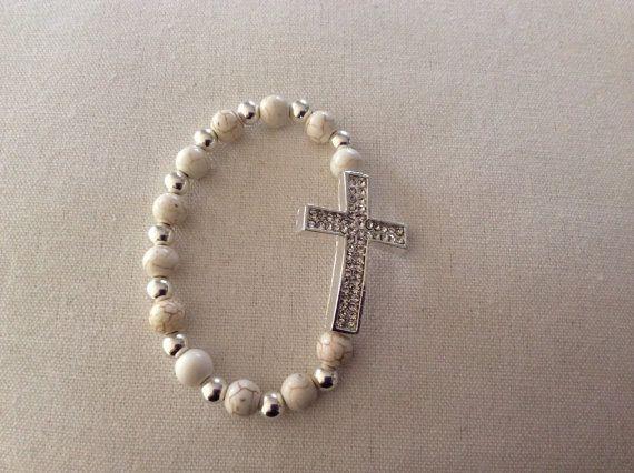 Howlite white 8mm stretch bracelet by ConnieKDesigns on Etsy, $20.00