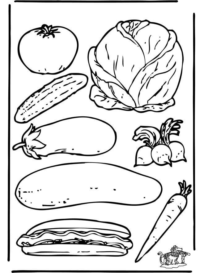 Картинки овощей черно белые