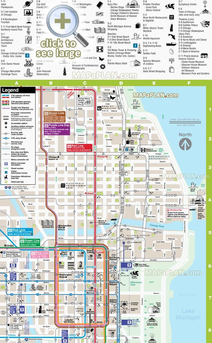 Direction Downtown Hotels Rta Rail Link Transit Chicago River - Chicago hotels map