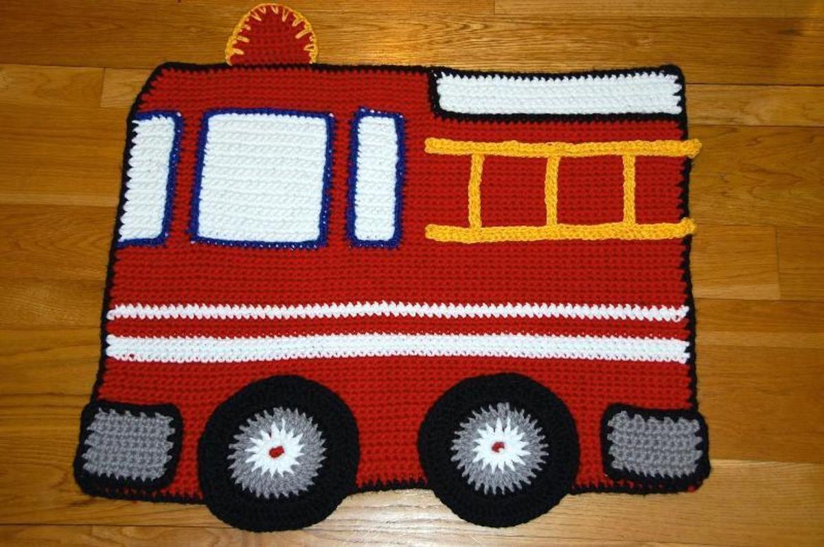 Fire Engine Baby Blanket Rug Baby Afghan Crochet Crochet Rug Crochet For Boys