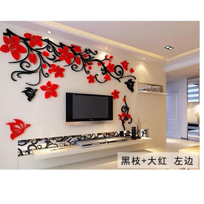 2016 Big Size Wall Stickers Flower Acrylic Sofa Home Wall Decor