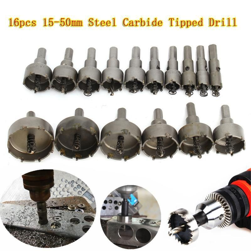 New 16pcs 15 50mm Carbide Tip Tct Drill Bit Hole Saw For Stainless Steel Metal Alloy Steel Carbide Hole Saw Set Drill Bits