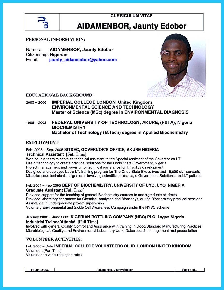 Cool Sophisticated Job For This Unbeatable Biotech Resume Bachelor Of Technology Resume Imperial College London