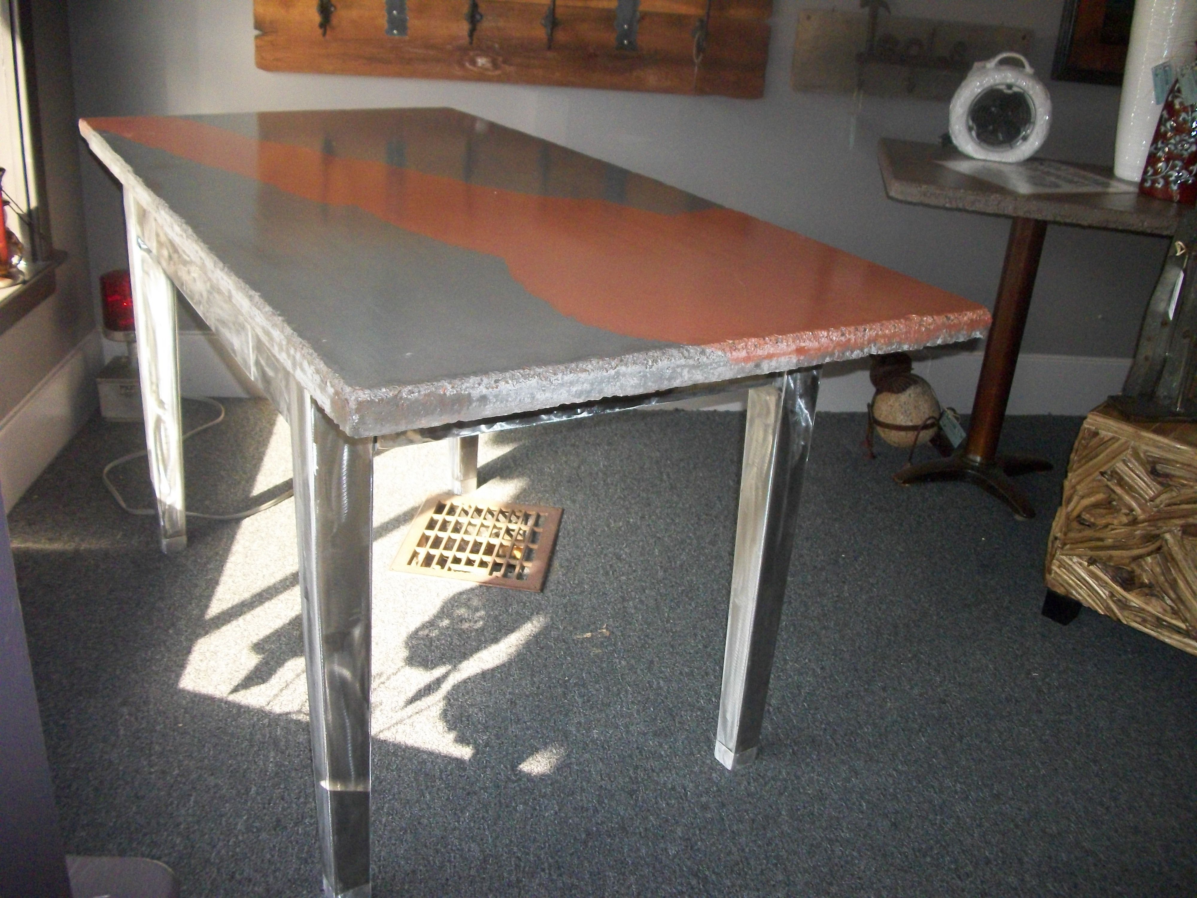 Custom Concrete desk with a Metal base