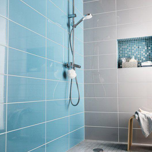 Faïence mur bleu atoll n°3, Loft brillant l20 x L502 cm Salle