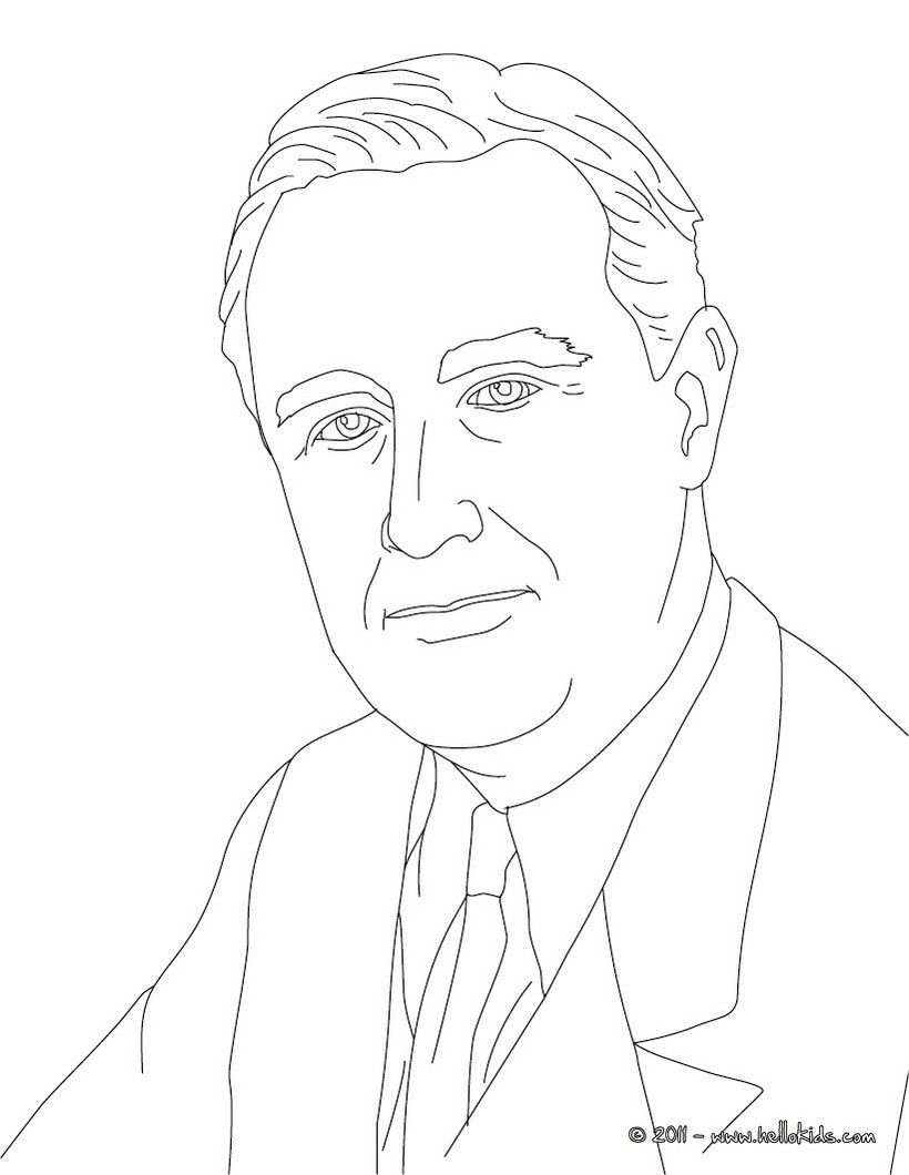 President franklin roosevelt coloring page history coloring sheets