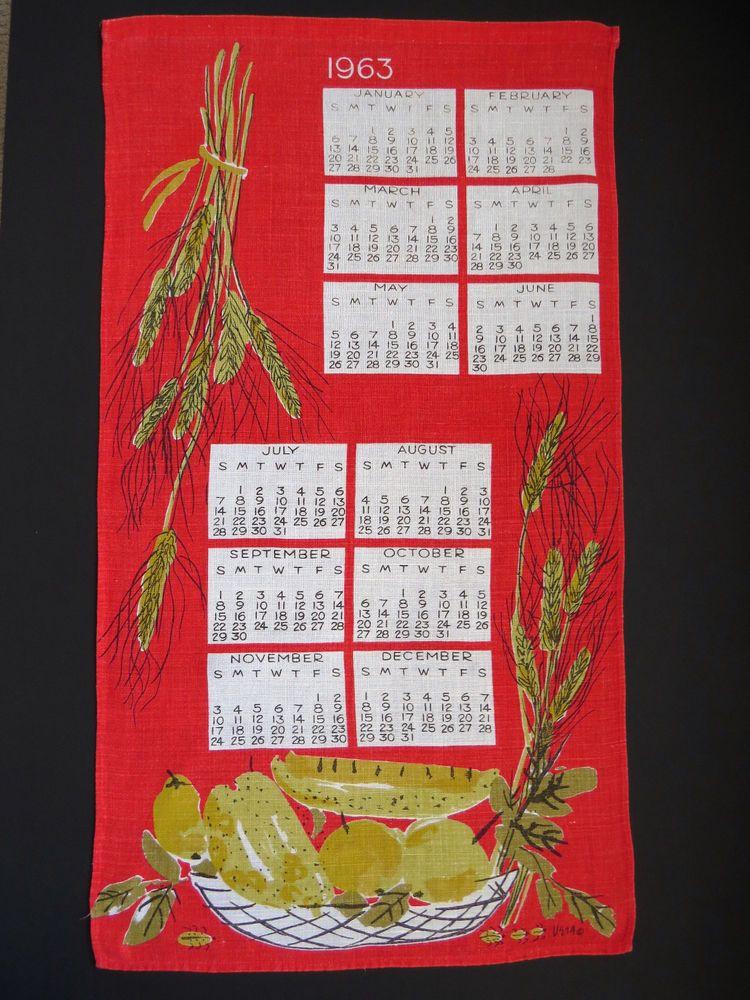 Vera Neumann 1963 Calendar Towel Vintage Vera Red Linen Tea Dish