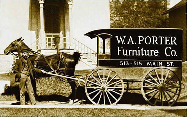 W. A. Porter Furniture Company Delivery Wagon, Racine, Wisconsin. William  Porter Of Connecticut Settled In Racine In 1857, Opening A Business Selling  ...
