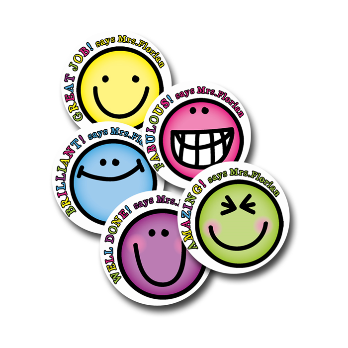 Smiley stuff personalised merit stickers for teachers bag of 40