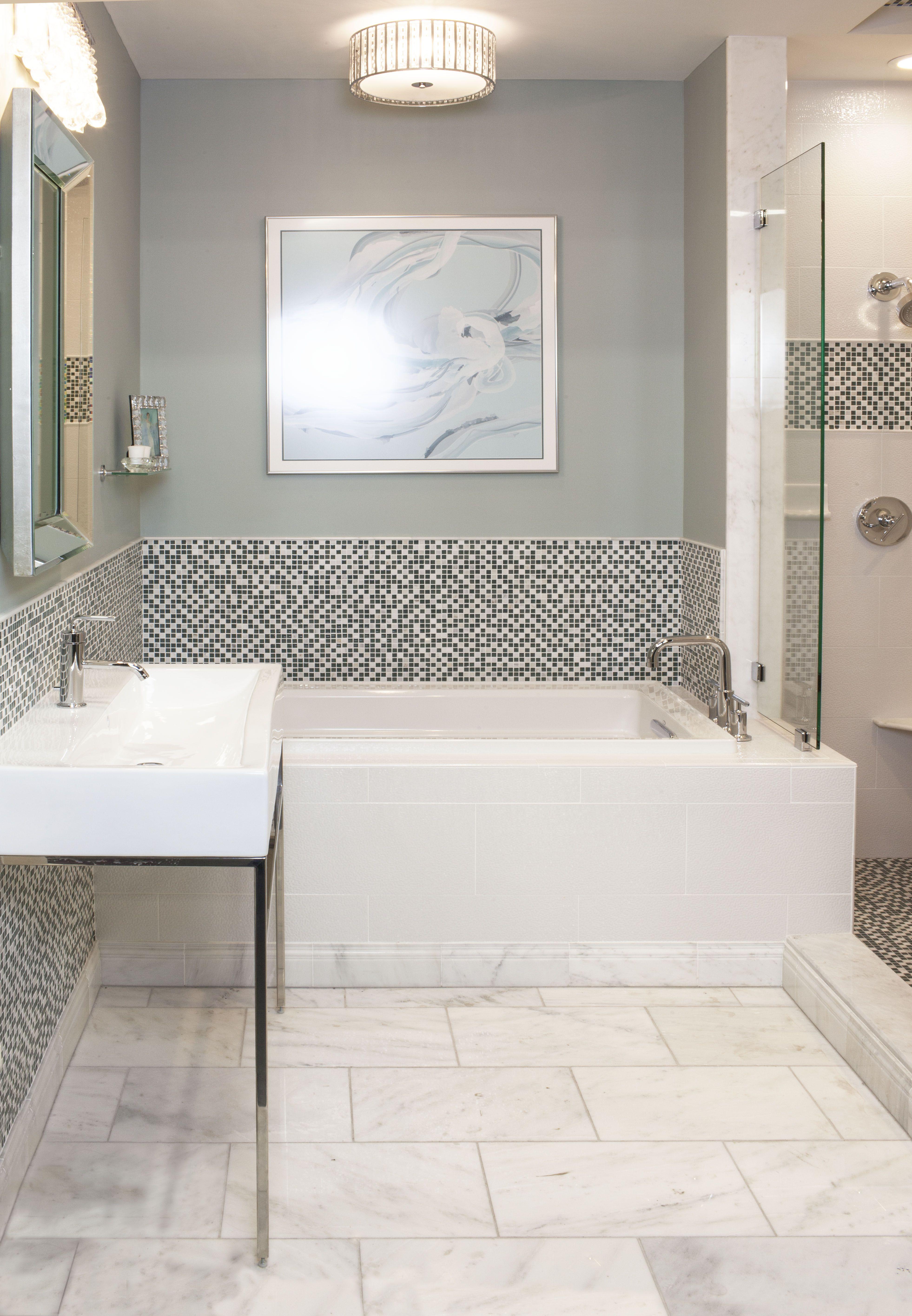 Modern marble and glass mosaic bathroom #thetileshop | Bathroom ...