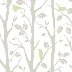 WallPOPs, 30.75 sq. ft. Grey and Green Sitting in a Tree Peel and Stick Wallpaper, NU1655 at The Home Depot - Mobile