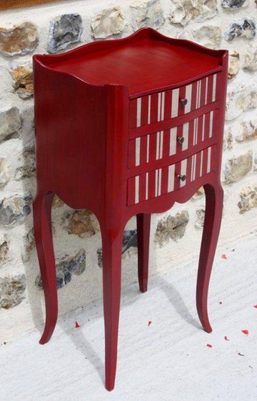 Chevet Raye Satinelle Bordeaux Craie Mobilier De Salon Relooker Meuble Idees De Meubles