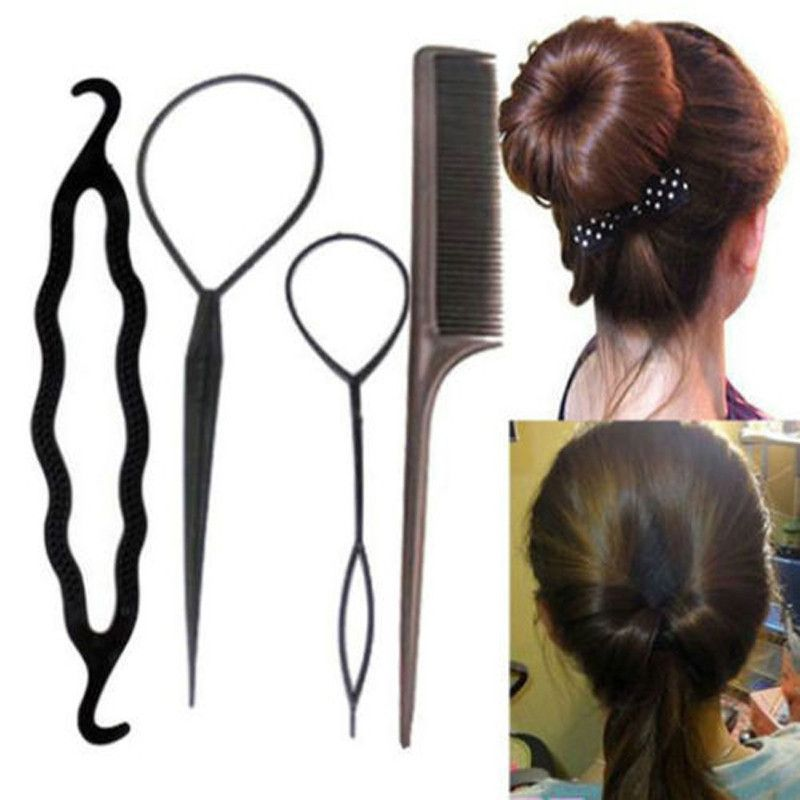 4pcs Women Girls Hair Styling Clip Stick Bun Maker Braid Tool