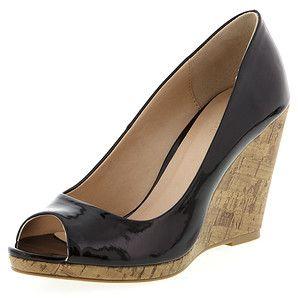 Pisa Cork Wedge Peep Toe Shoes-Black