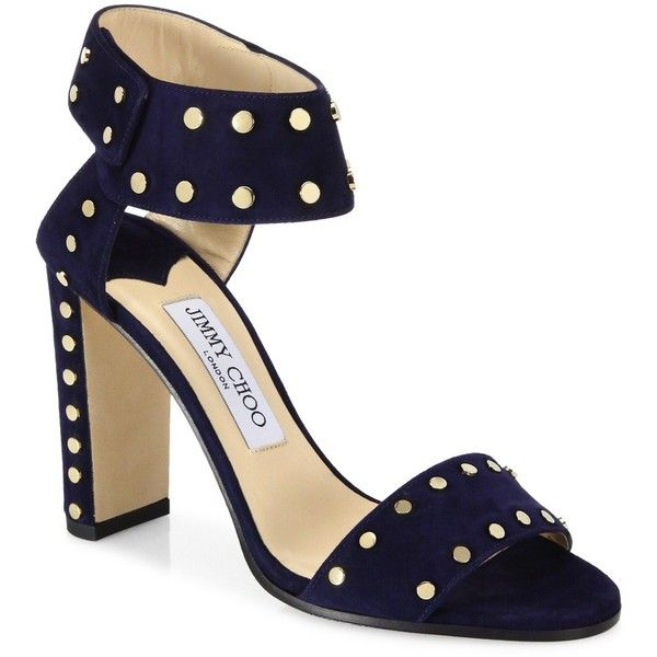 52ef0a87ca0 Jimmy Choo Veto Studded Suede Block-Heel Sandals ( 850) ❤ liked on Polyvore  featuring shoes