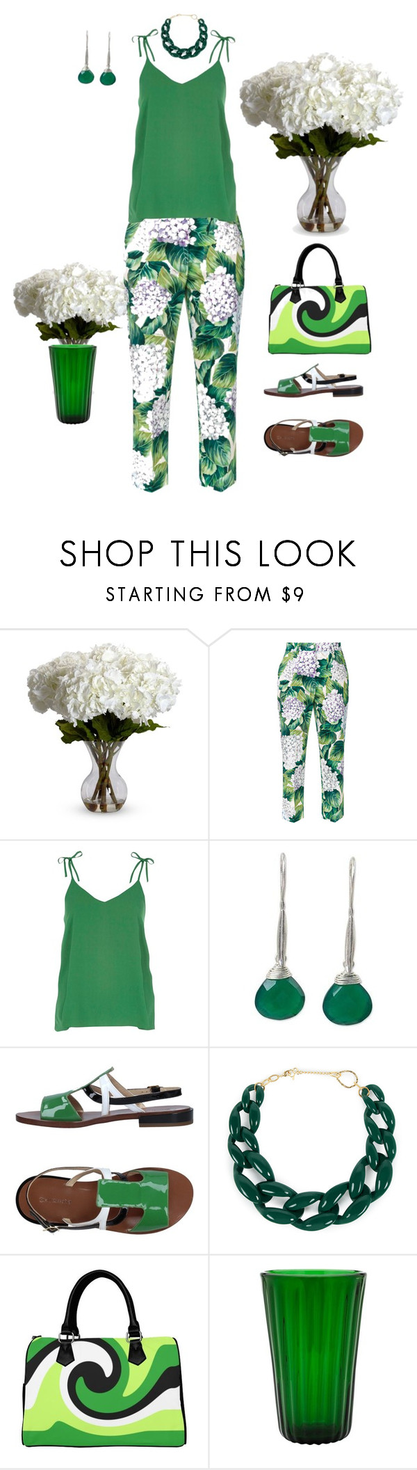 """""""Hydrangea"""" by babygirltrice ❤ liked on Polyvore featuring Nearly Natural, Dolce&Gabbana, NOVICA, L'Autre Chose, Joomi Lim and Eligo"""