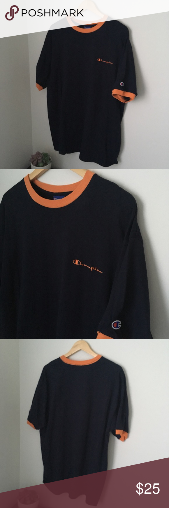 73a58f79 vintage Navy blue and orange champion tee Vintage deadstock navy blue and  orange ringer tee Supreme condition Brand new without tags Never worn Fits  perfect ...